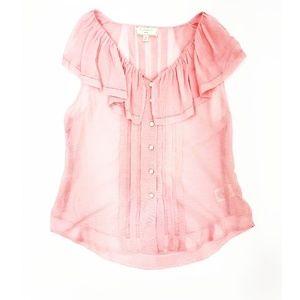 Moulinette Soeurs (Anthropologie) Pink Sheer Top 4